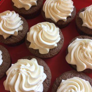 Double Chocolate Cupcakes with White Chocolate Buttercream