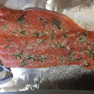 Fresh salmon rubbed with rosemary and garlic